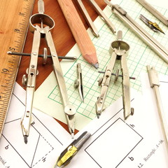 Drafting tools, ruler, formulas and engeineering paper