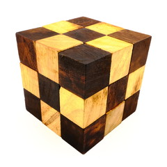 Vintage wood geometric cube on white background