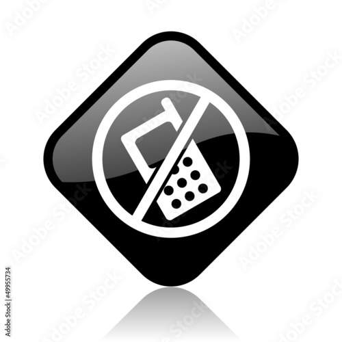 no phones black square glossy internet icon