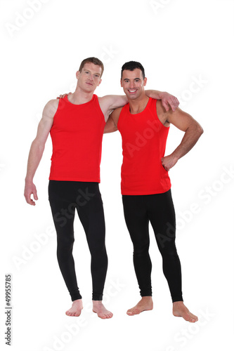 Men wearing workout clothing