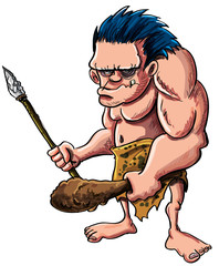 Cartoon vector illustration of a stooped muscular caveman