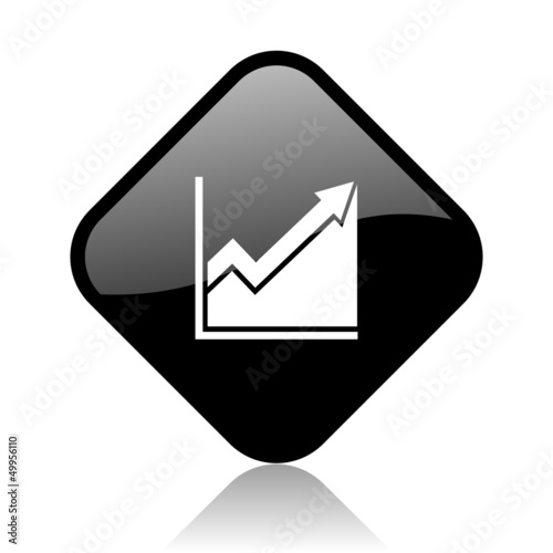 histogram black square glossy internet icon