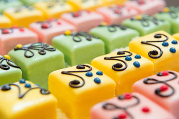 colorful Petit fours for the party