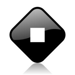 stop black square glossy internet icon