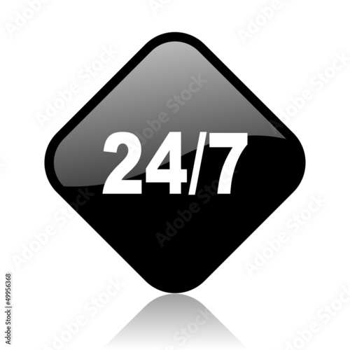 24/7 black square glossy internet icon