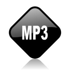 mp3 black square glossy internet icon