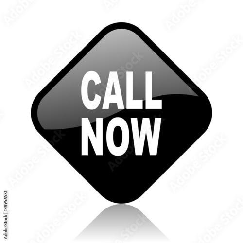 call now black square glossy internet icon