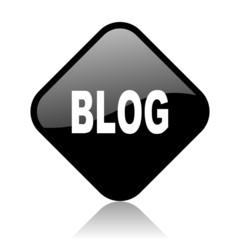 blog black square glossy internet icon