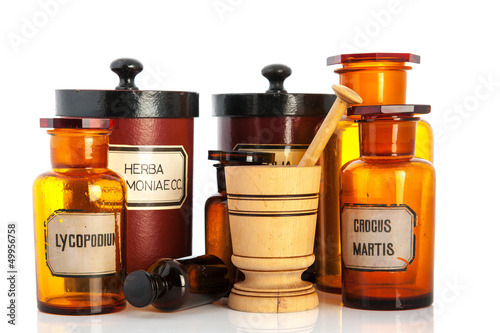 apothecary pots with ingredients for medicins