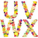 Alphabet from fruit UVWX