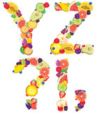 Alphabet from fruit XZ