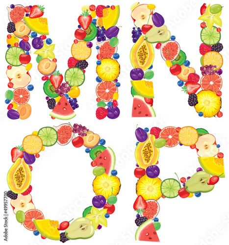 Alphabet from fruit MNOP