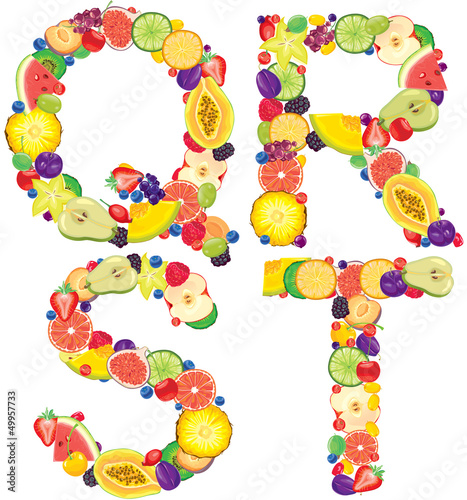 Alphabet from fruit QRST