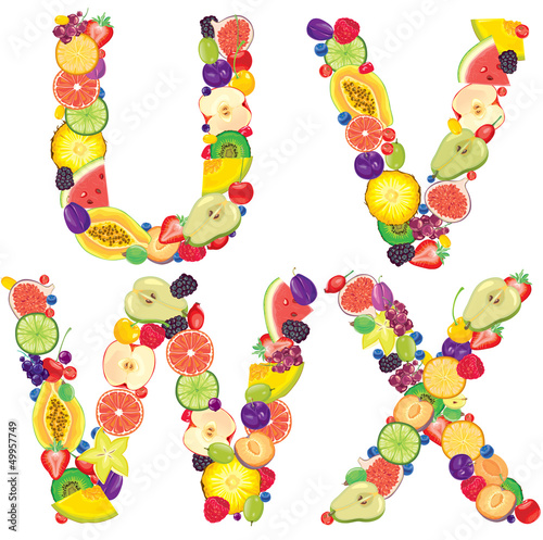 Alphabet from fruit UVWX
