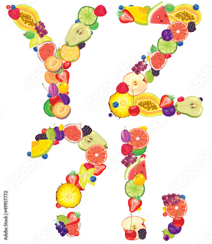 Alphabet from fruit XZ