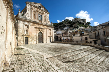europe, italy, sicily, baroque facade church in Scicli