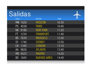 Airport time Departure table in spanish