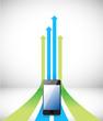 phone Arrow rising toward same direction success