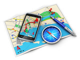 Fototapety GPS navigation, travel and tourism concept
