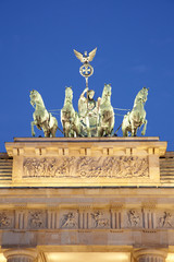Brandenburg gate detail, quadriga at night, Berlin