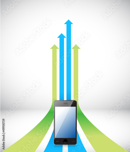 phone Arrow rising toward same direction success