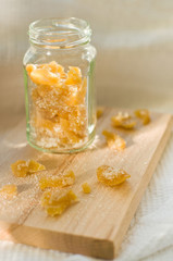 candied ginger in glass