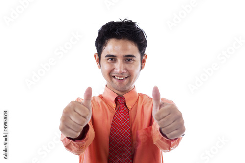 Happy businessman on white