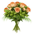 bouquet of orange roses isolated on white background