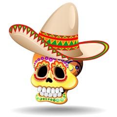 Sugar Skull Calaveras-Teschio Decorativo con Sombrero