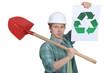 Man promoting environmental awareness