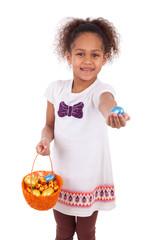 African Asian girl holding chocolate ester egg