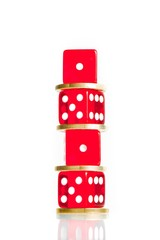 spread, the euro coins and dice red stacked