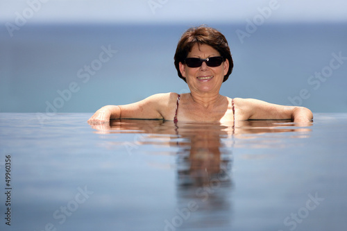 Middle-aged woman in a swimming pool