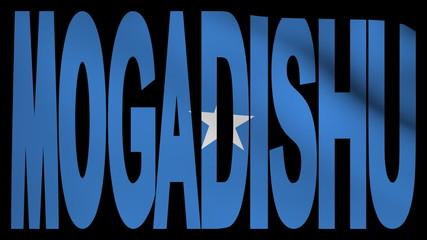 Mogadishu text with fluttering flag animation