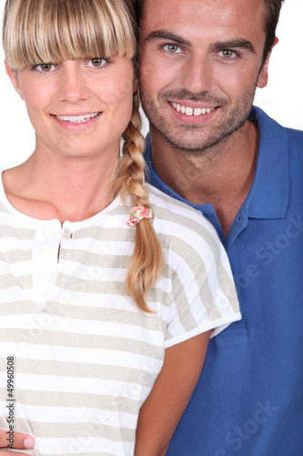 Closeup of smiling young couple