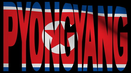 Pyongyang text with fluttering flag animation