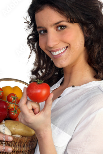 Woman fresh produce