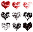 grunge set of hearts