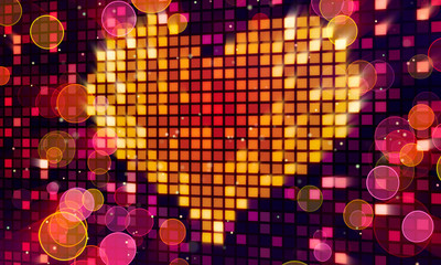 orange pixel heart shape on digital screen and lights