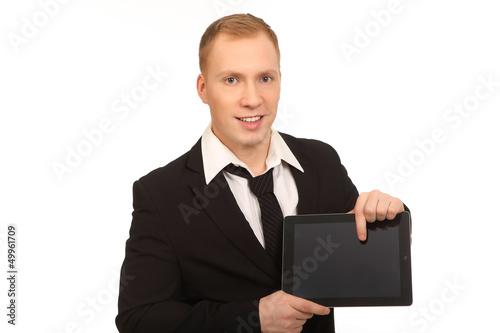 zeigen auf Tablet