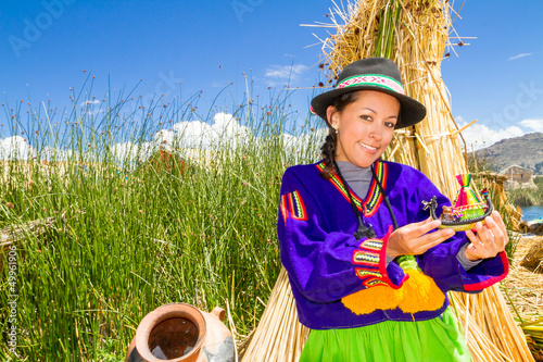 Woman in traditional clothes, lake Titicaca