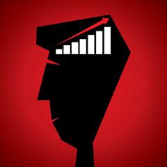 market graph in human head stock vector