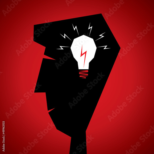 bulb in men head stock vector