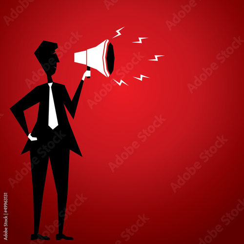 loudspeaker with men stock vector