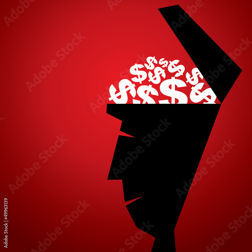 dollar in human head vector