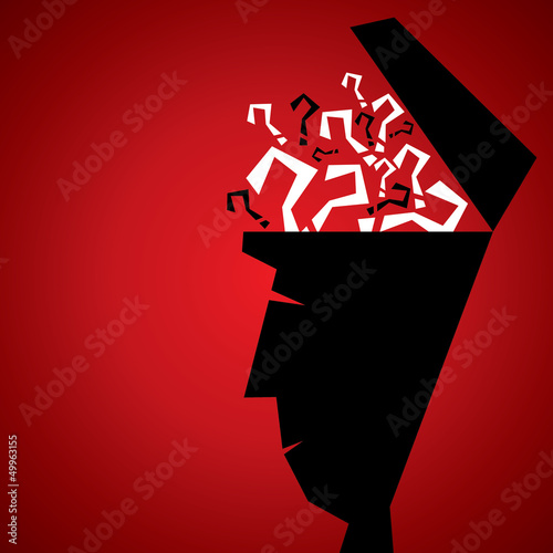 many question in human head stock vector