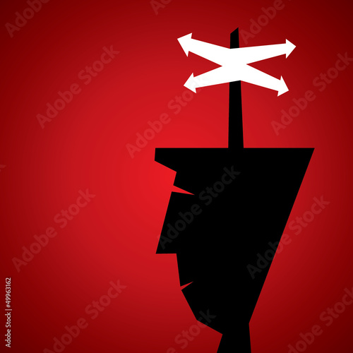 men confuse about right direction stock vector