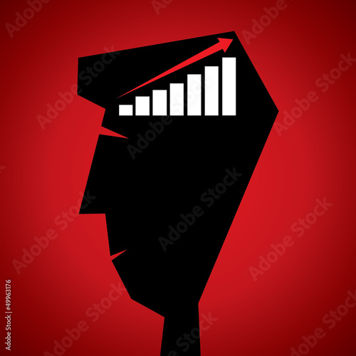market graph in human head stock vector