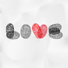 Word Love written with fingerprint, vector Eps10 image.