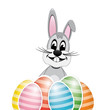 colorful white striped easter eggs bunny isolated